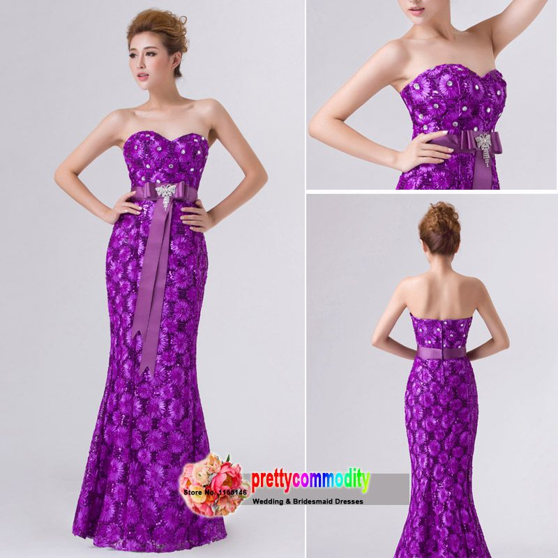 2014 New High Quality Purple Champagne Red Strapless Sleeveless ...