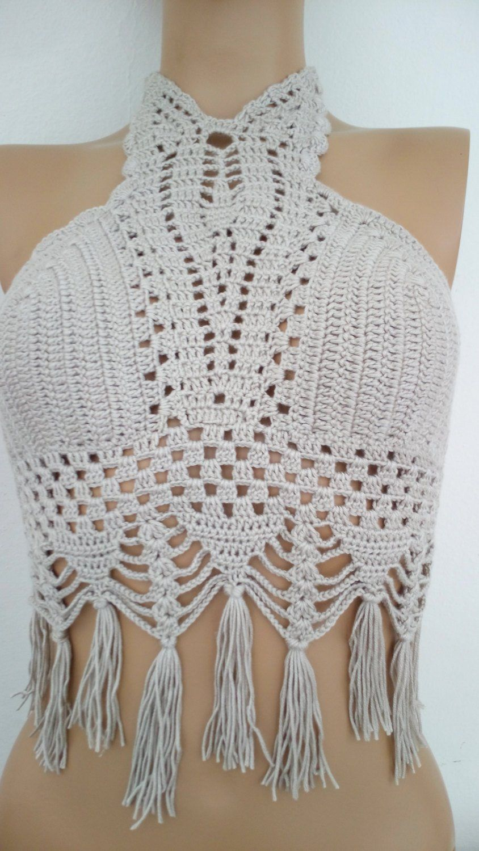 Beige Crochet halter top,new bandeau top,hippie style top,beach wear ...