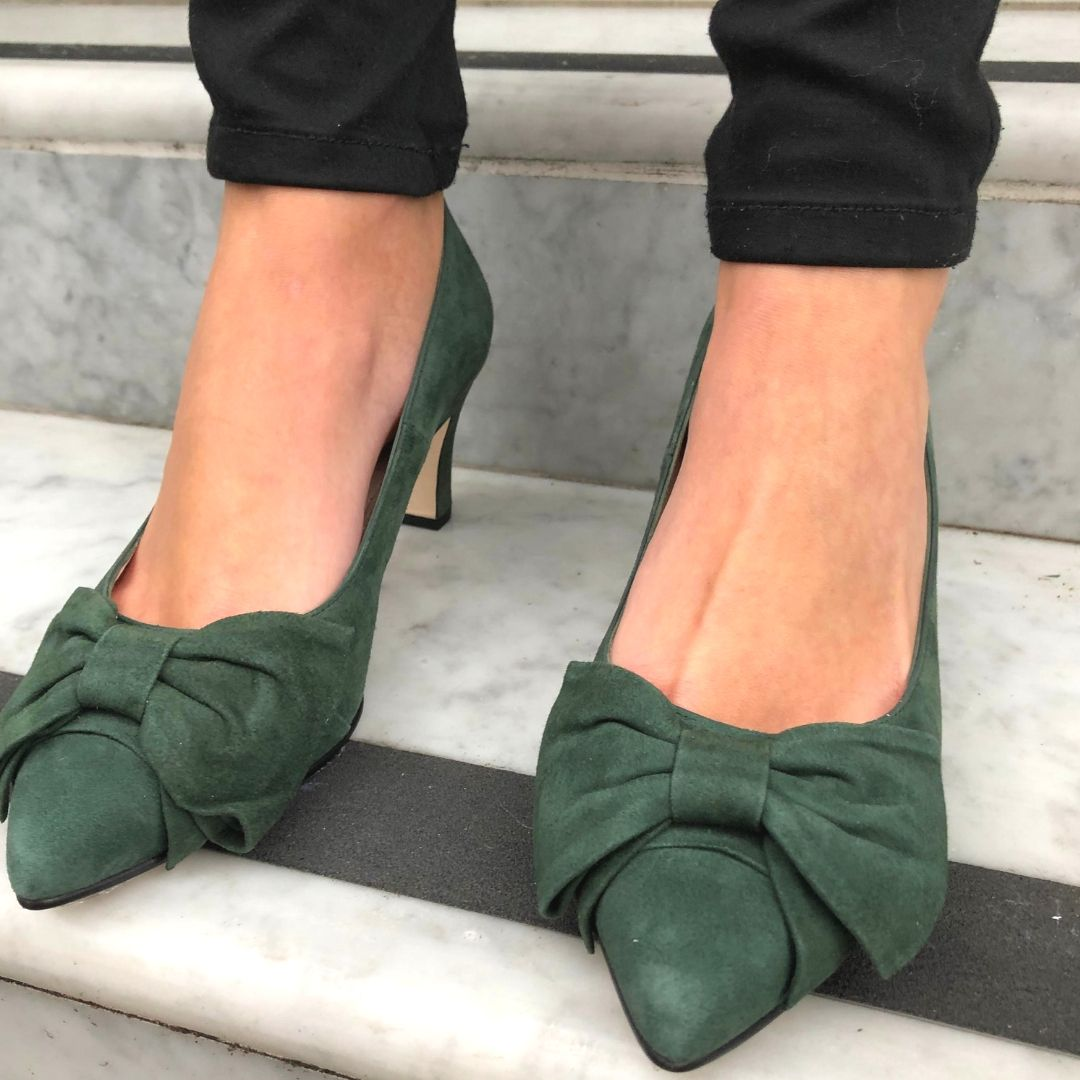 Wide fit shoes, Green suede, Green shoes