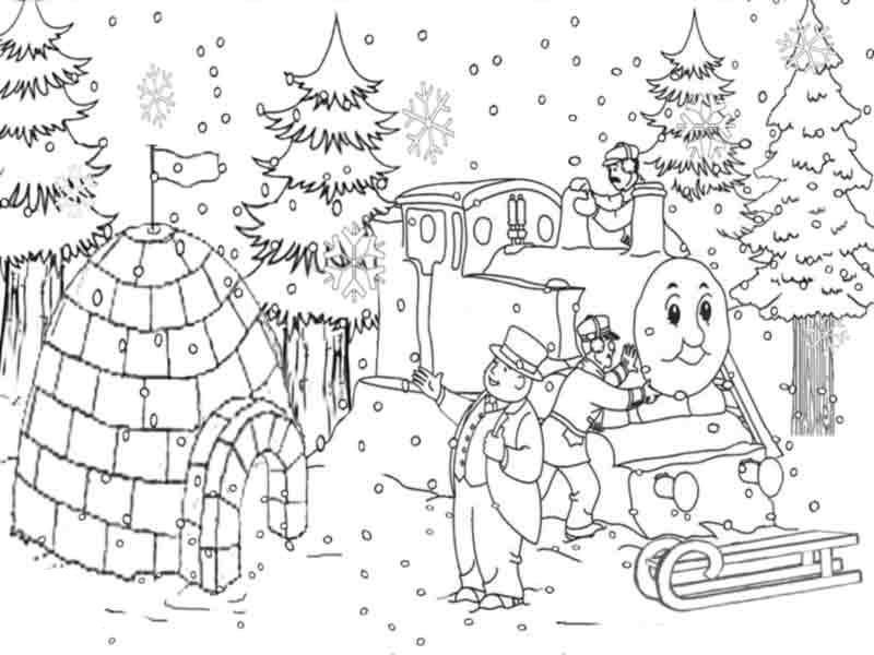 Thomas The Train Coloring Pages Christmas Snow Christmas