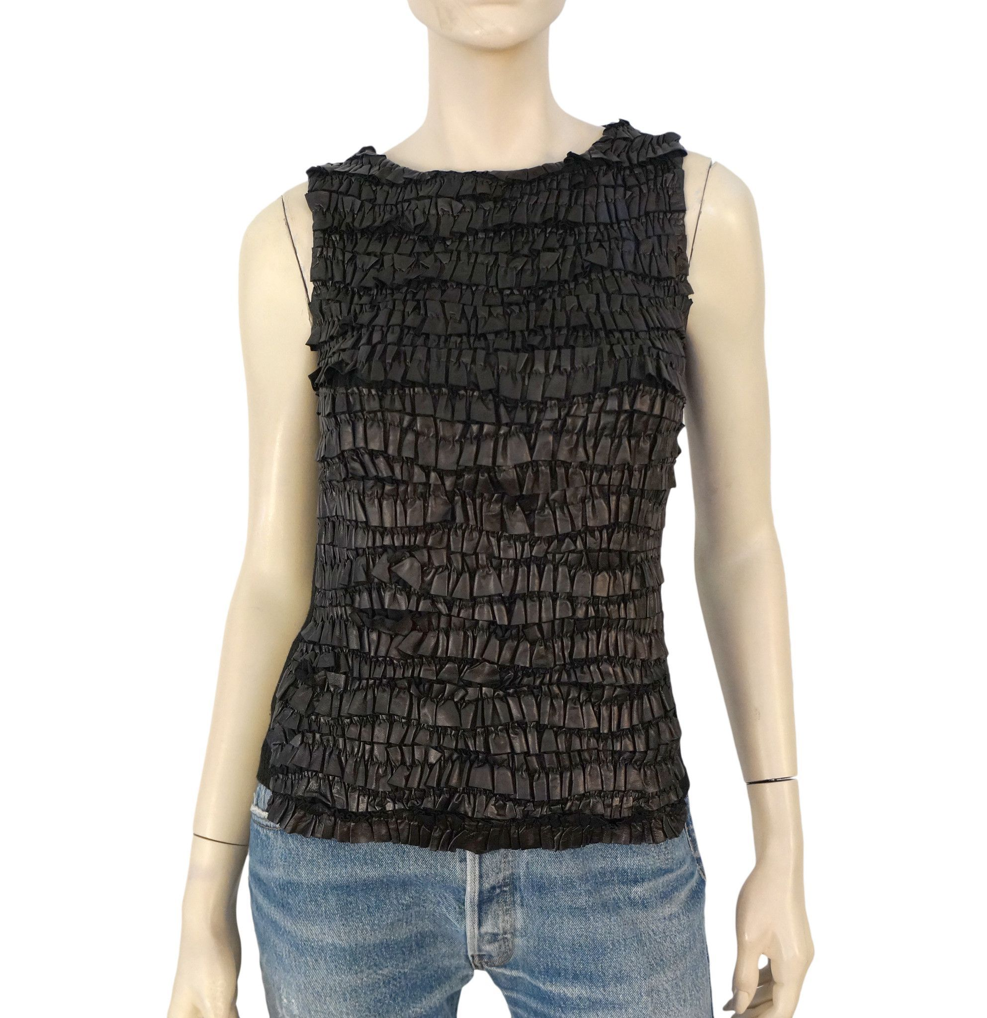PRADA Paneled Leather Knit Top, IT 40 / US 4