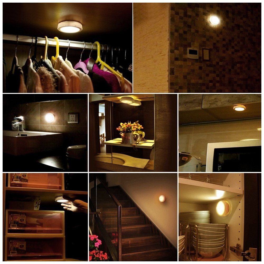 Lunsy Wireless Led Puck Lights Closet Battery Operated With Remote Controll Kitchen Under Cabinet Lighting 3 Pack Home