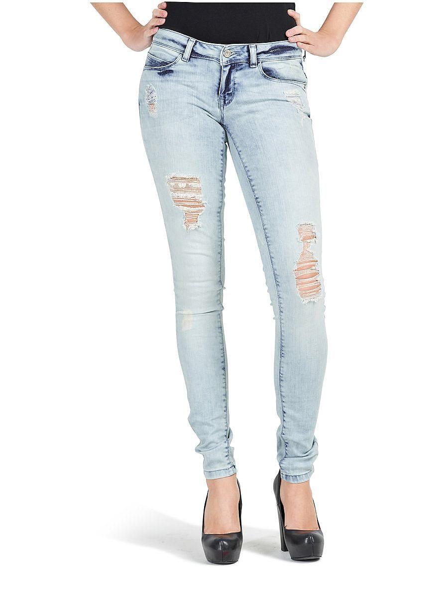 4ba8f1cbcf1c ONLY Skinny-Jeans im Used-Look., Low waist., 2 Vordertaschen und eine  Münztasche., 2 Gesäßtaschen., 5 Gürtelschlaufen., Mit Reißverschluss und  einem Knopf ...