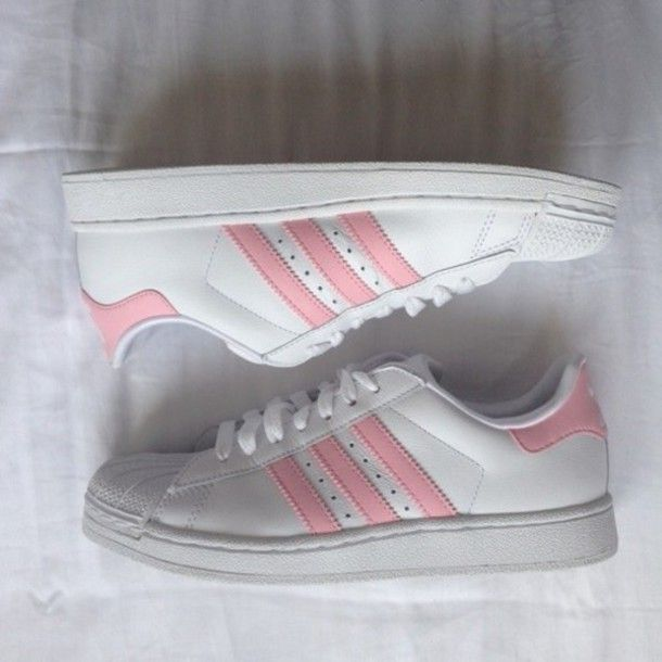 adidas superstar rose pale et blanche
