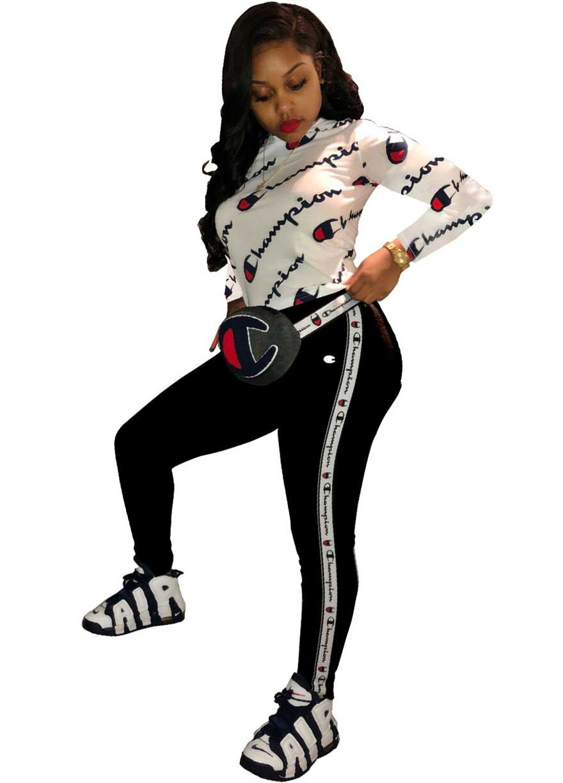 360aa4d4a4e3 CHAMPION Long Sleeve Sport Two Piece Set Pant Set Women Set Sexy Lingeire