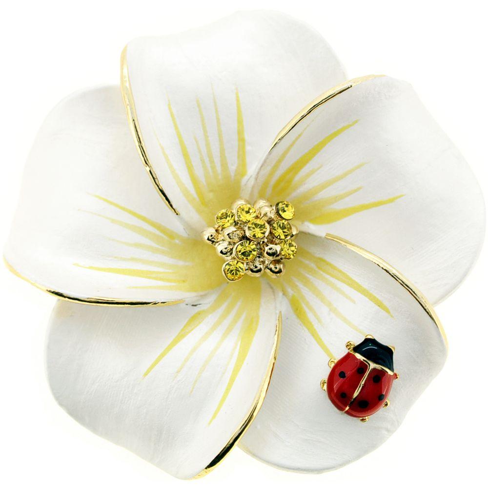 6acda87df7f White Hawaiian Plumeria With Red Ladybug Swarovski Crystal Flower Pin Brooch  and Pendant