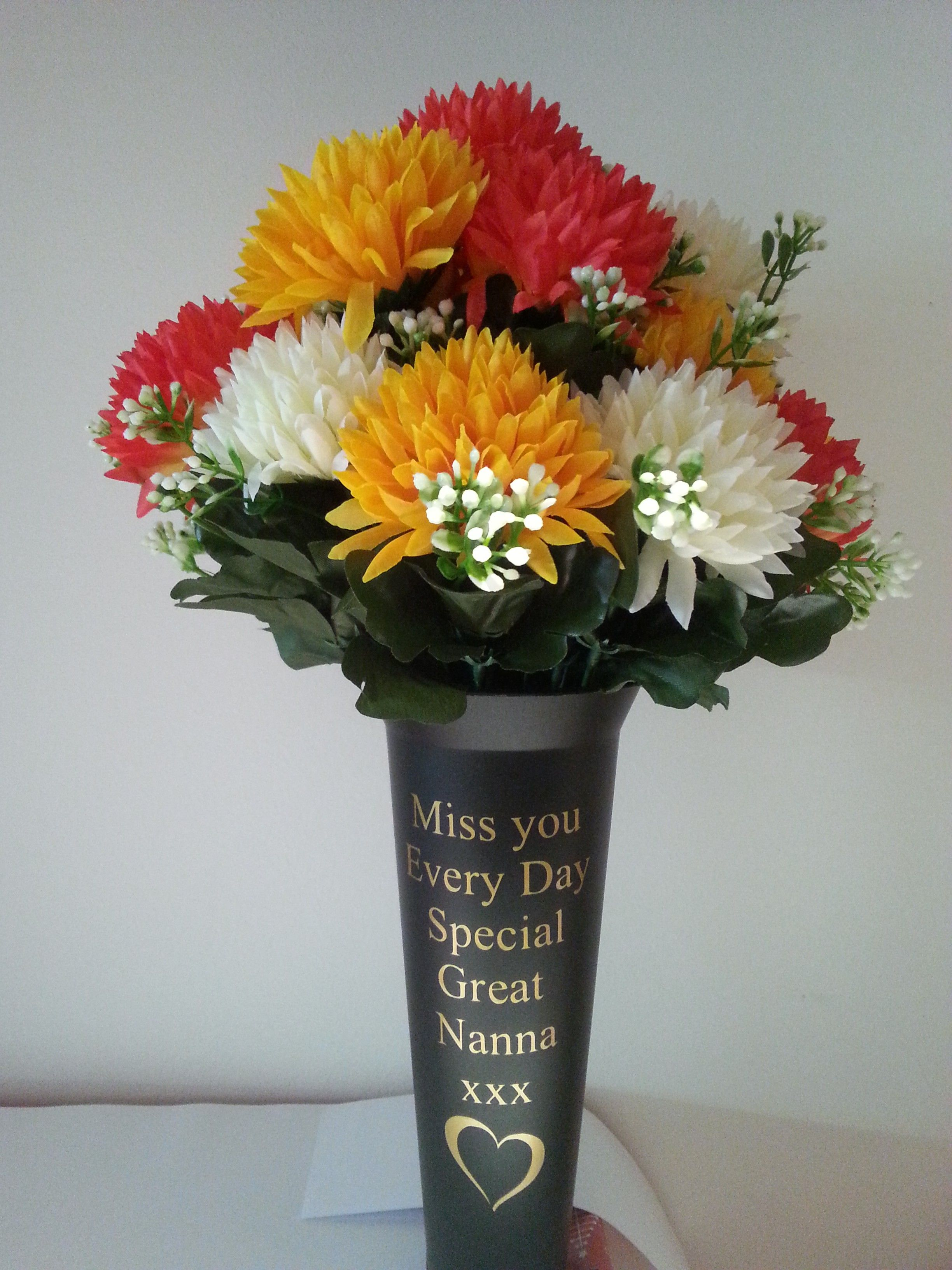 Personalised Grave Vase Spike Heart Design With Flowers Memorial Engraved Stone Pinterest