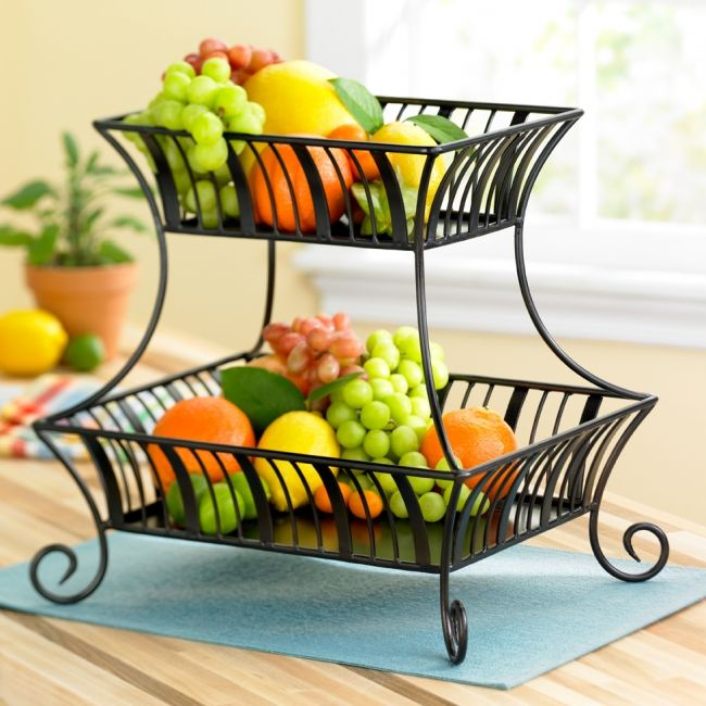 Pin Delaware 2 Tier Basket No Handle With Antiqued Black Finish Product Id 9664 01 01 Upc 795324059 Tiered Fruit Basket Kitchen Decor Themes Entryway Decor