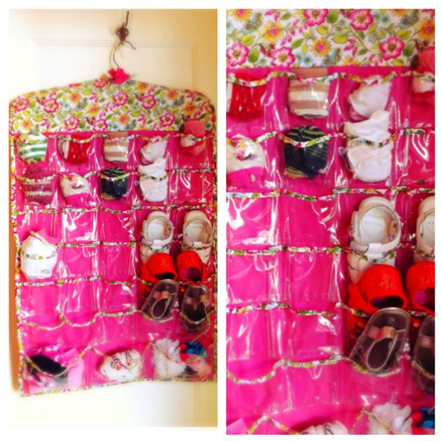 Organize those tiny baby socks and shoes using a hanging jewelry organizer! Use it for hair bows and legwarmers too.