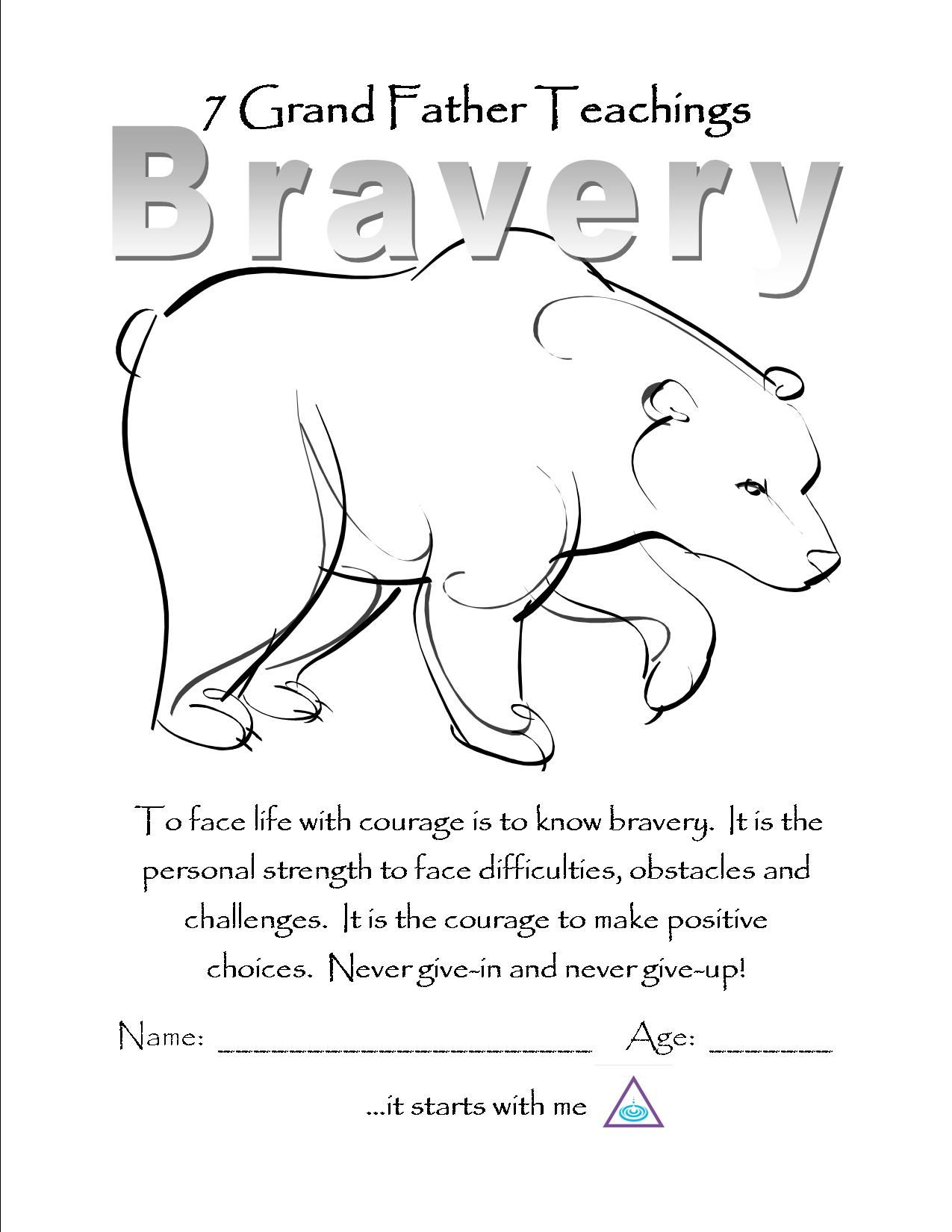 7 teachings coloring pages - Bravery Color Page