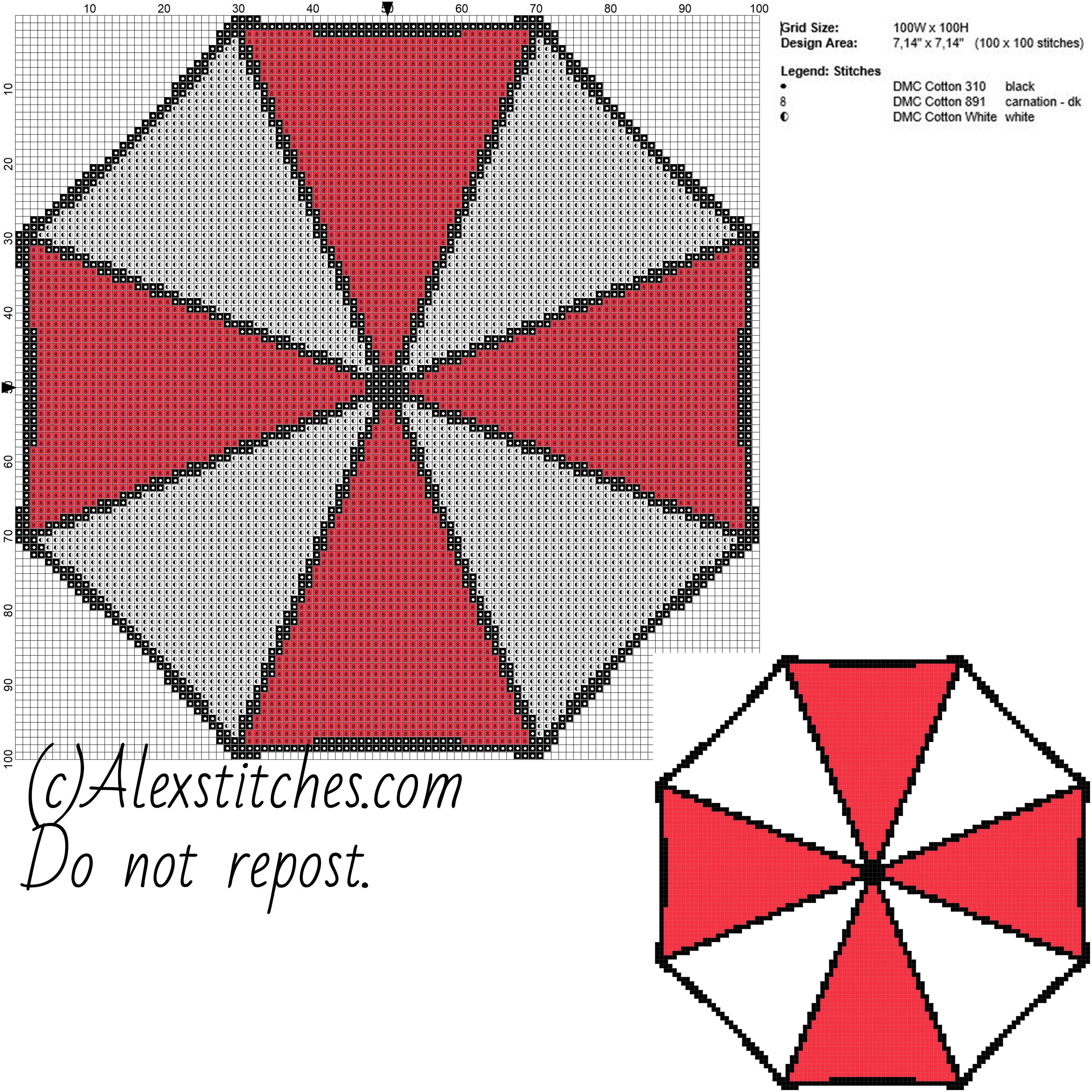 Umbrella Corporation Logo Resident Evil Free Cross Stitch Pattern