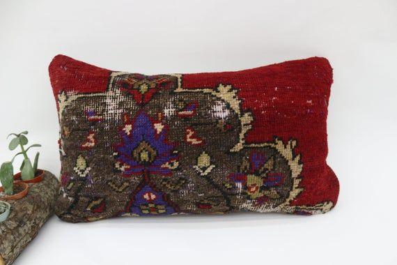 12x20 Ethnic Pillow, Handmade Rug Pillow, Lumbar Pillow Cover, Embroidered Pillow, Red Pillow, Bench
