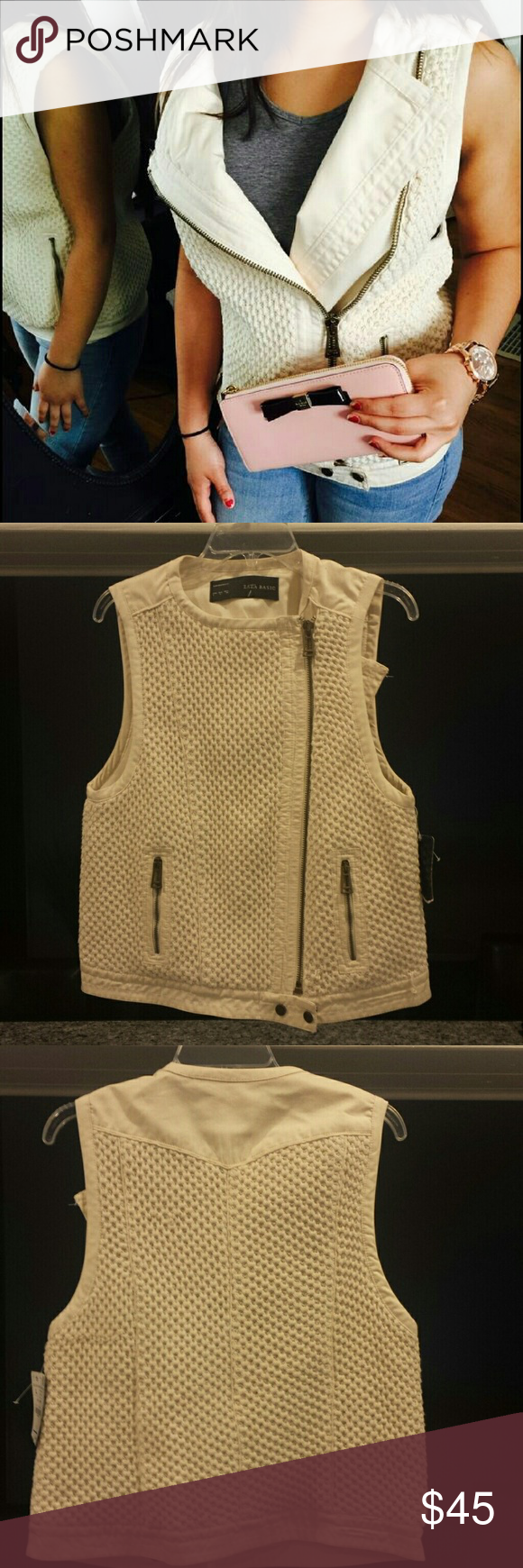 NWT Zara Basic Sweater Vest Beautiful cream colored zippered ...