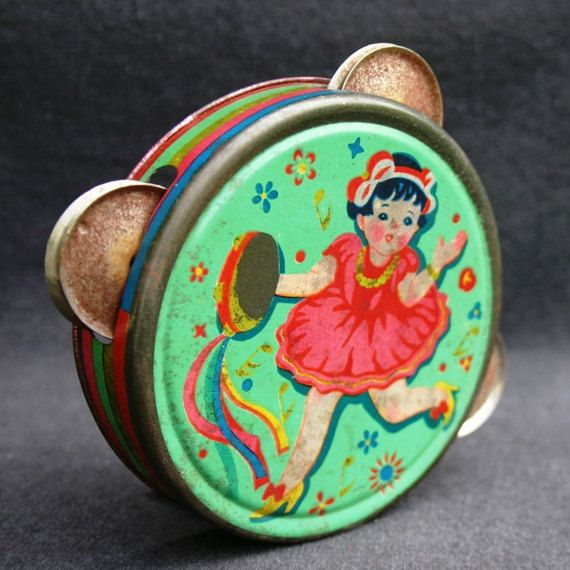 Fun colorful tambourine Vintage by MademoiselleChipotte on Etsy, $34.95