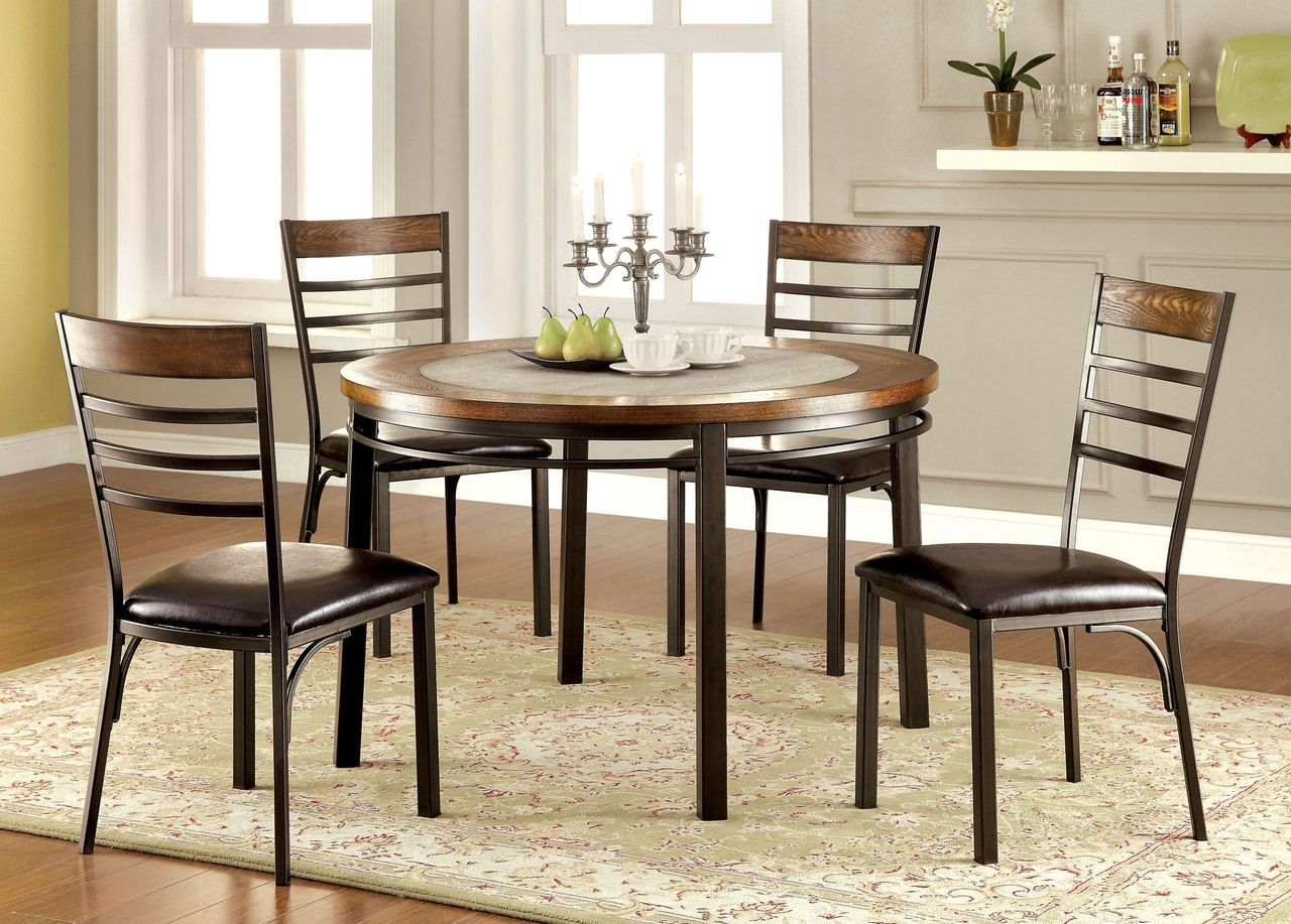 Riley Round Wood Stone Insert Dining Table Set
