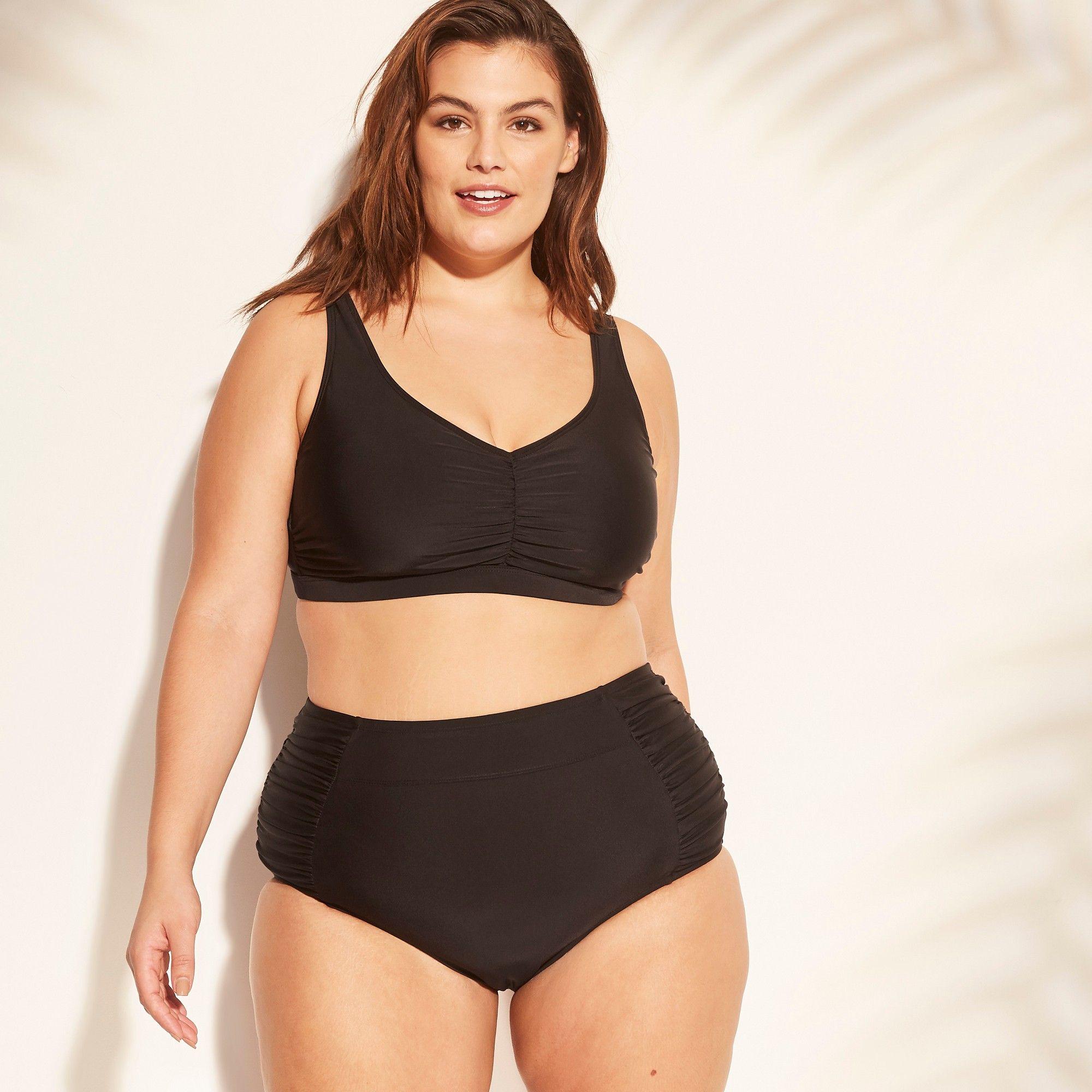 eb34339448 Women s Plus Size Twist Back Bikini Top - Kona Sol Black 18W ...