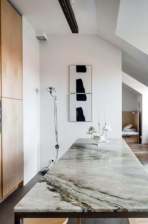 Küche einrichten modern minimalistisch Arbeitsplatte Kochinsel ...
