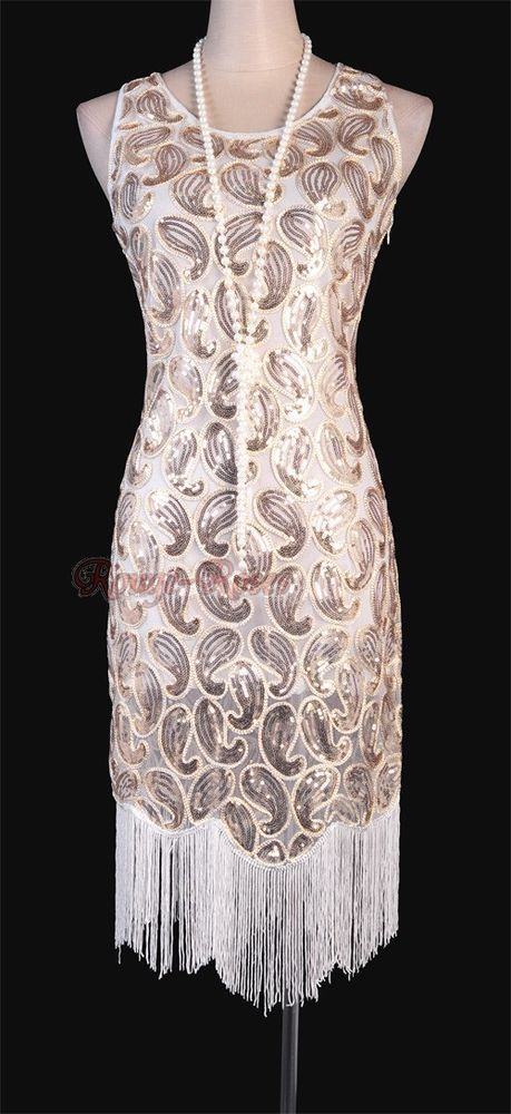a6cdfe8d6ee 1920 s Flapper Clubwear Gatsby Abbey Sequin Tassel PLUS Size White Dress RR  3239  Other  BallGown  Clubwear