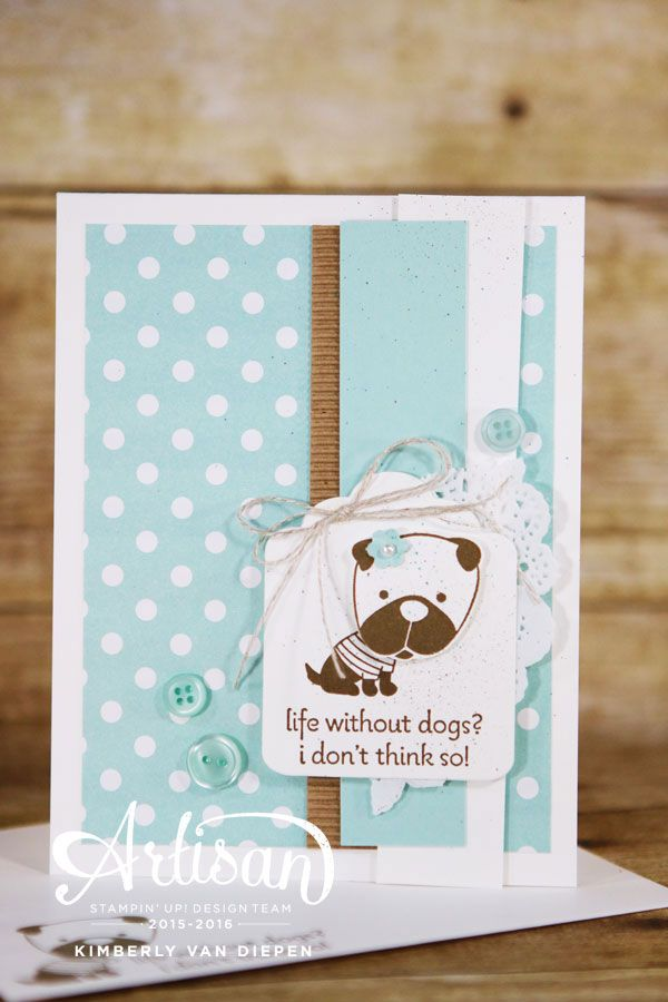 Hot Diggity Dog stamp set from Stampin' Up! perfect for sweet dog handmade cards - StampinByTheSea.com