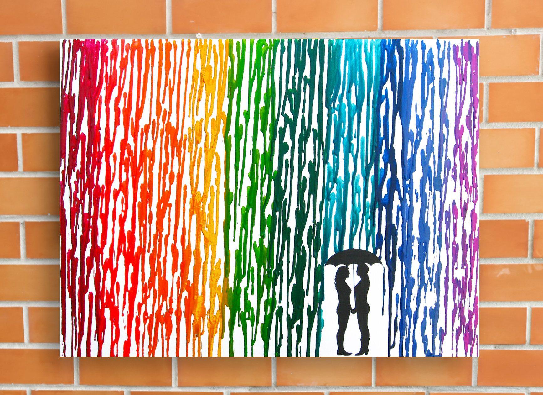 Wedding Gift Paintings: Lesbian Wedding Gift, Lesbian Art, Rainbow Raindrops