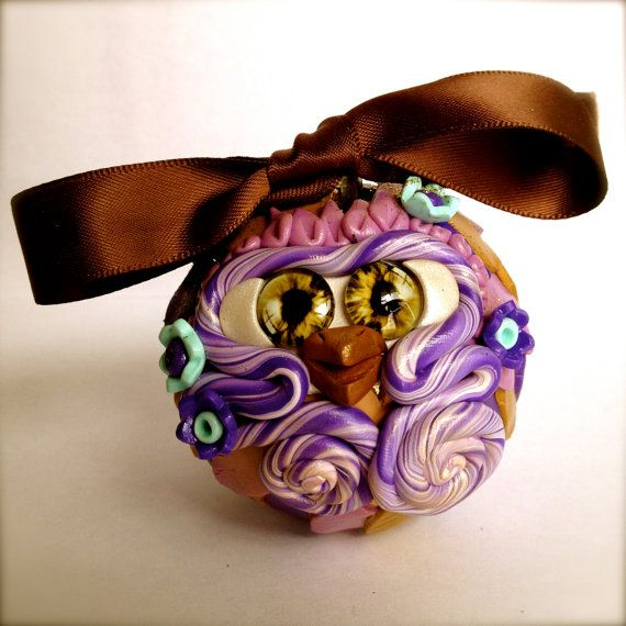Swish  Polymer Clay Owl Ornament w/ Ribbon by TheNakedPeacock, $14.95