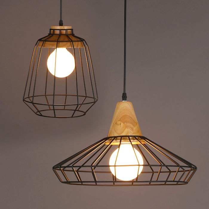modern minimal timber top metal cage pendant light style a by