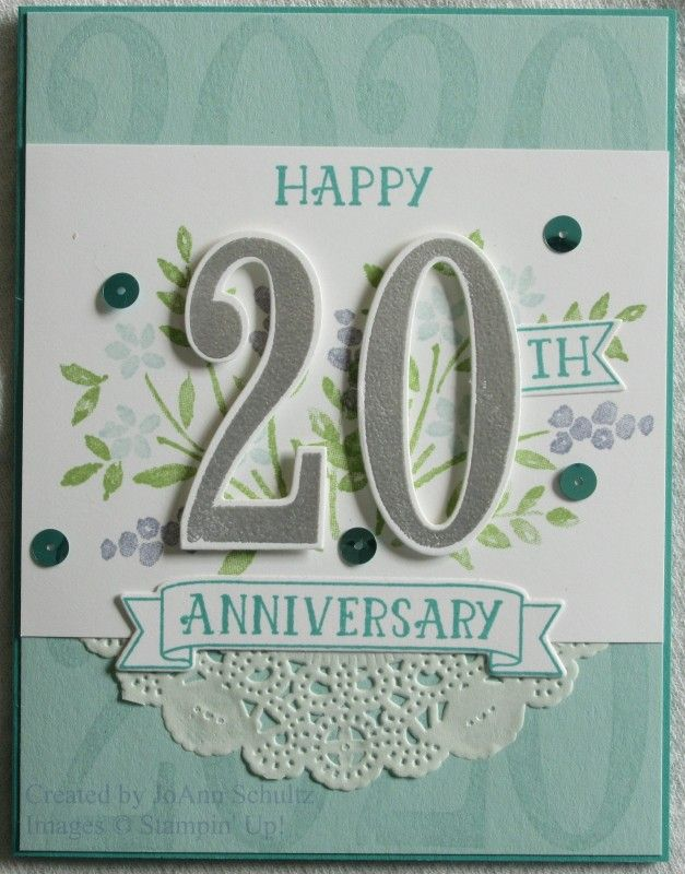 20th Anniversary Number Of Years By Jreks Cards And Paper Crafts At Splitcoaststampe Anniversary Cards Handmade 20th Anniversary Cards 50th Anniversary Cards