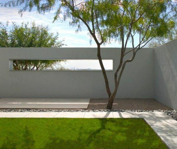 moderne gartenzäune ideen aus beton rasen kies baum | Garten ...