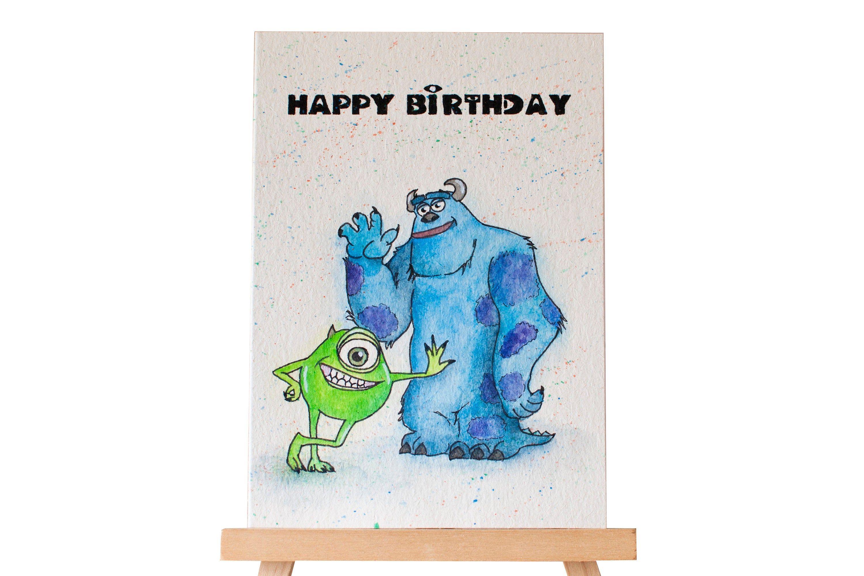 Happy Birthday Card Monster Inc Drawn Card Happy Monster Etsy Birthday Cards Happy Monster Monster Birthday