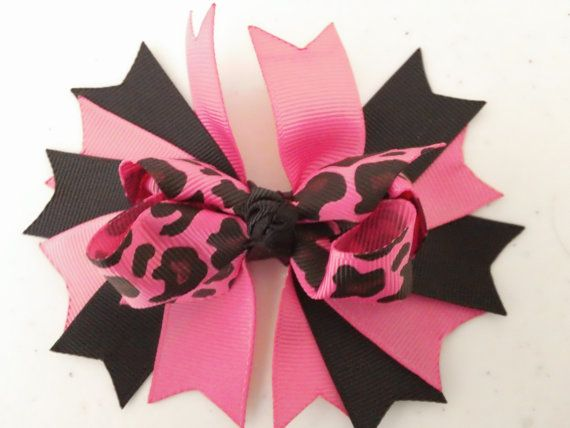 pink leopard boutique bow by Babydobows on Etsy, $1.79