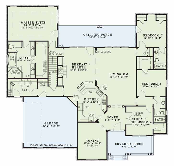 502 Willow Lane Nelson Design Group Country Style House Plans House Floor Plans Ranch House Floor Plans