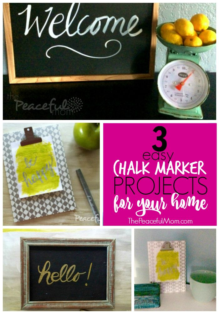 This post is sponsored by Chalkola Chalk Markers.  Try these 3 Easy DIY Chalk Marker Projects to brighten up your home. -- from ThePeacefulMom.com #AD
