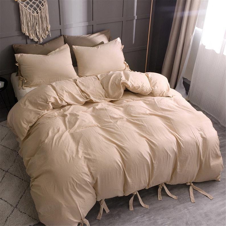 Photo of Duvet Cover Comforter Set Quilt Soft Solid Tie Strap | Etsy