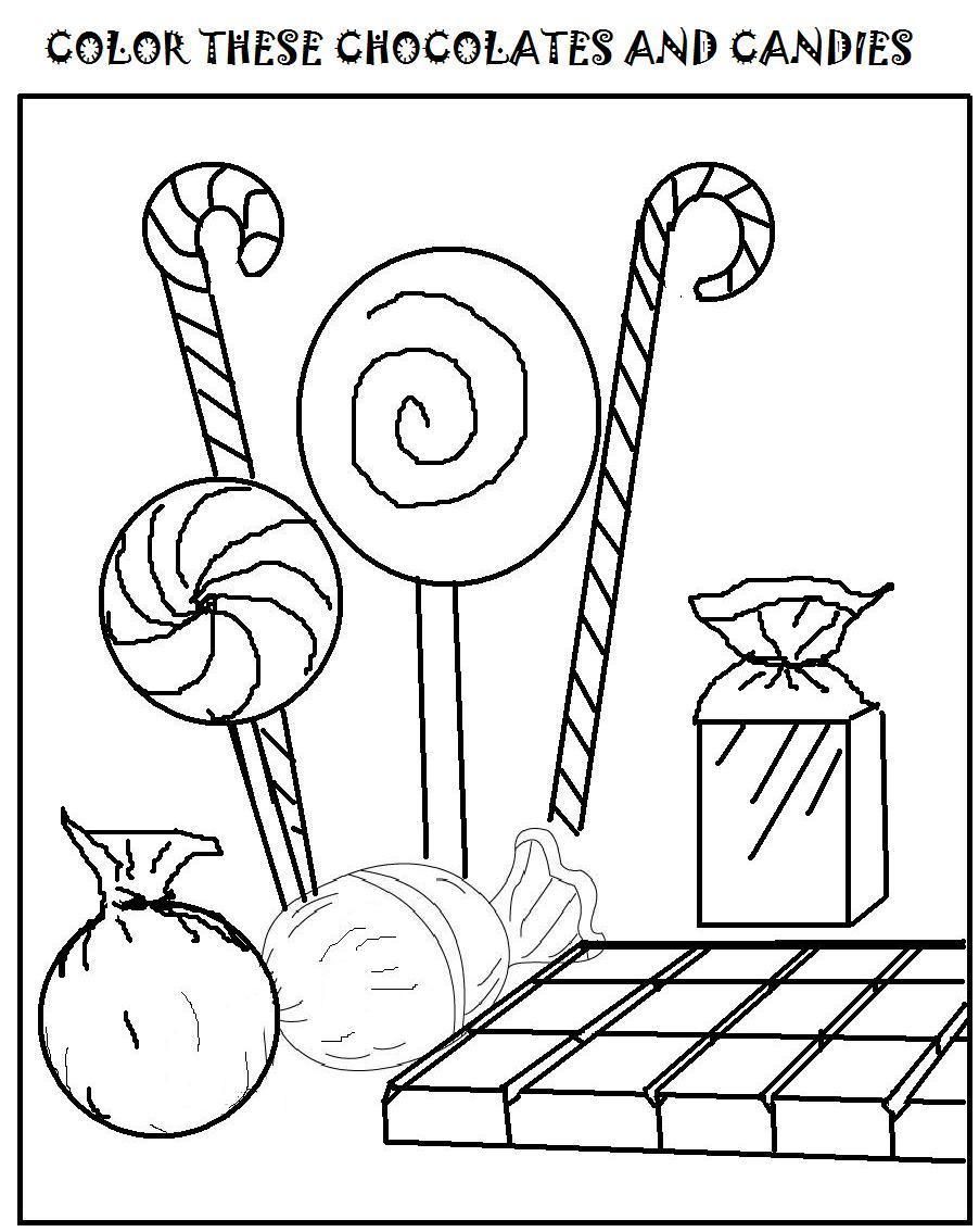 Chocolates and candies coloring page for kids Candy