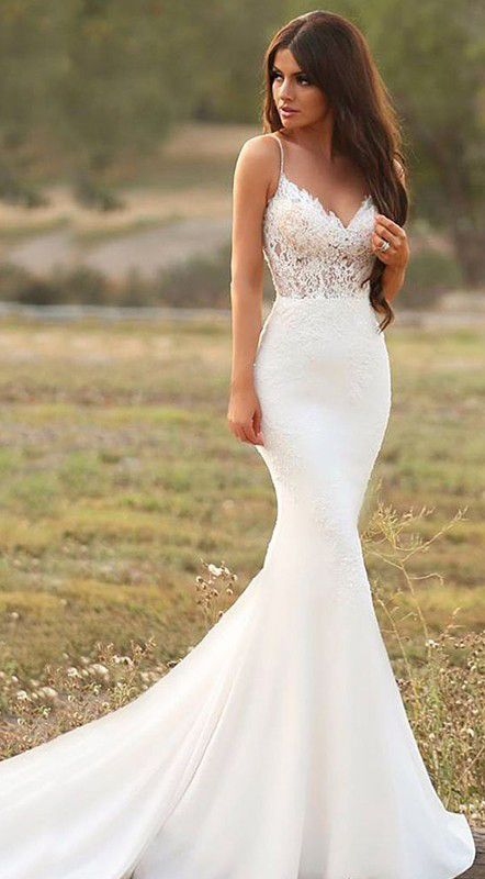 Appliques Sleeveless Mermaid Spaghetti Straps Wedding Dresses
