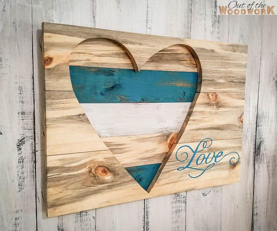 Wood heart wall art decor distressed rustic love custom make your own note room and free