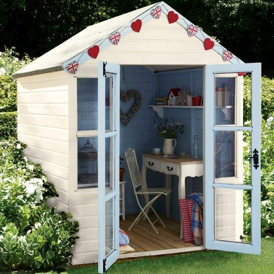10 bunting ideas gardens shed office and garden buildings for Shed office interior