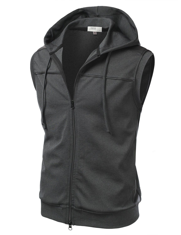 Mens Basic Cotton Hoodie Vest #doublju