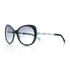 90c333bc20d Tiffany Garden cat eye sunglasses in black acetate with Austrian crystals.