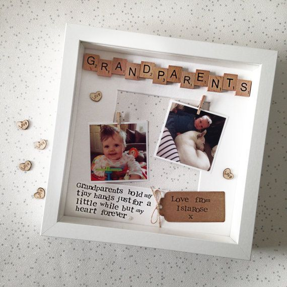 Grandparents Photo Frame- Personalised Frame- Grandparents Hold Our Tiny Hands- Nana Grandad- Scrabble Frame- Grandparent Gift- Christmas