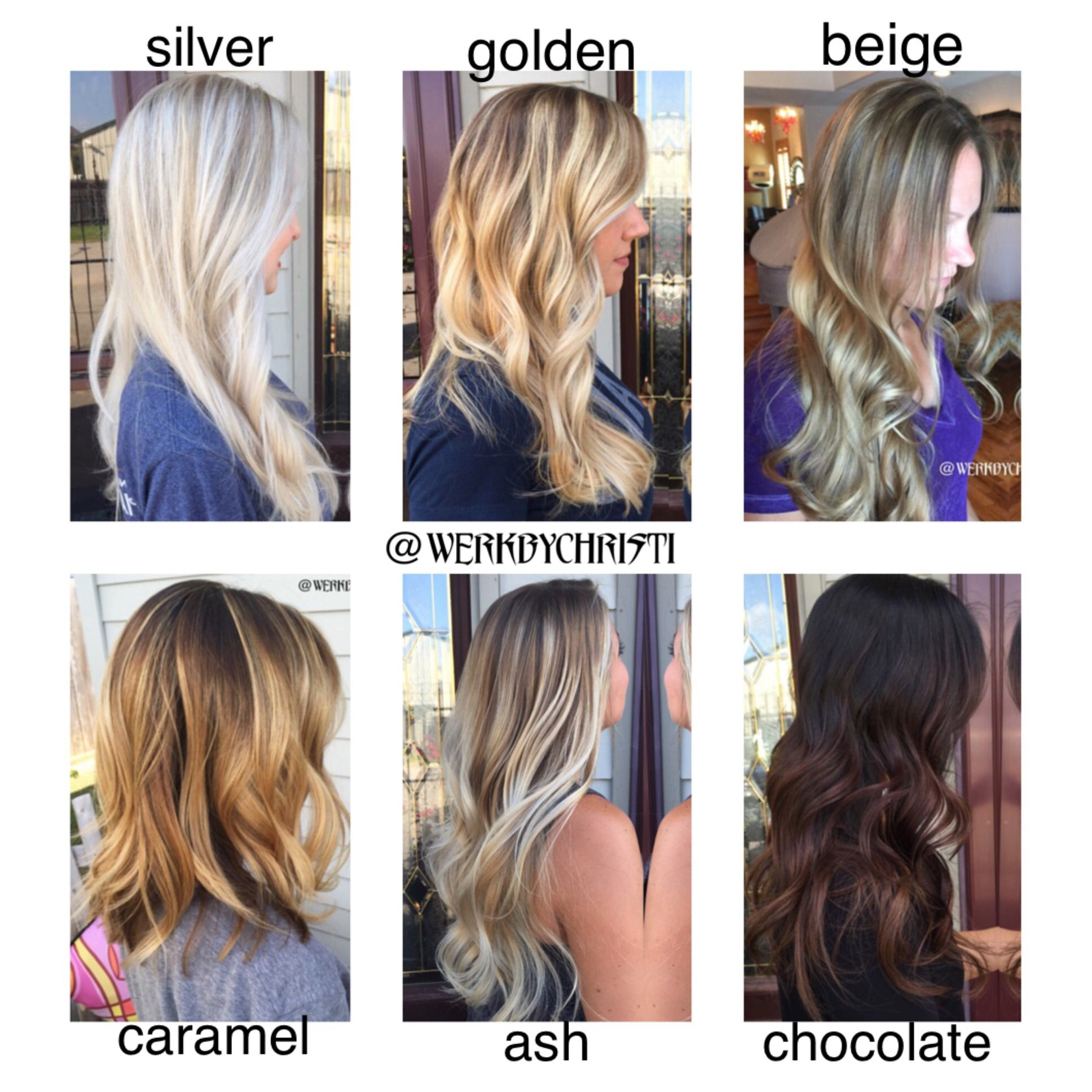 hair color chart. balayage ombré. different tones and shades
