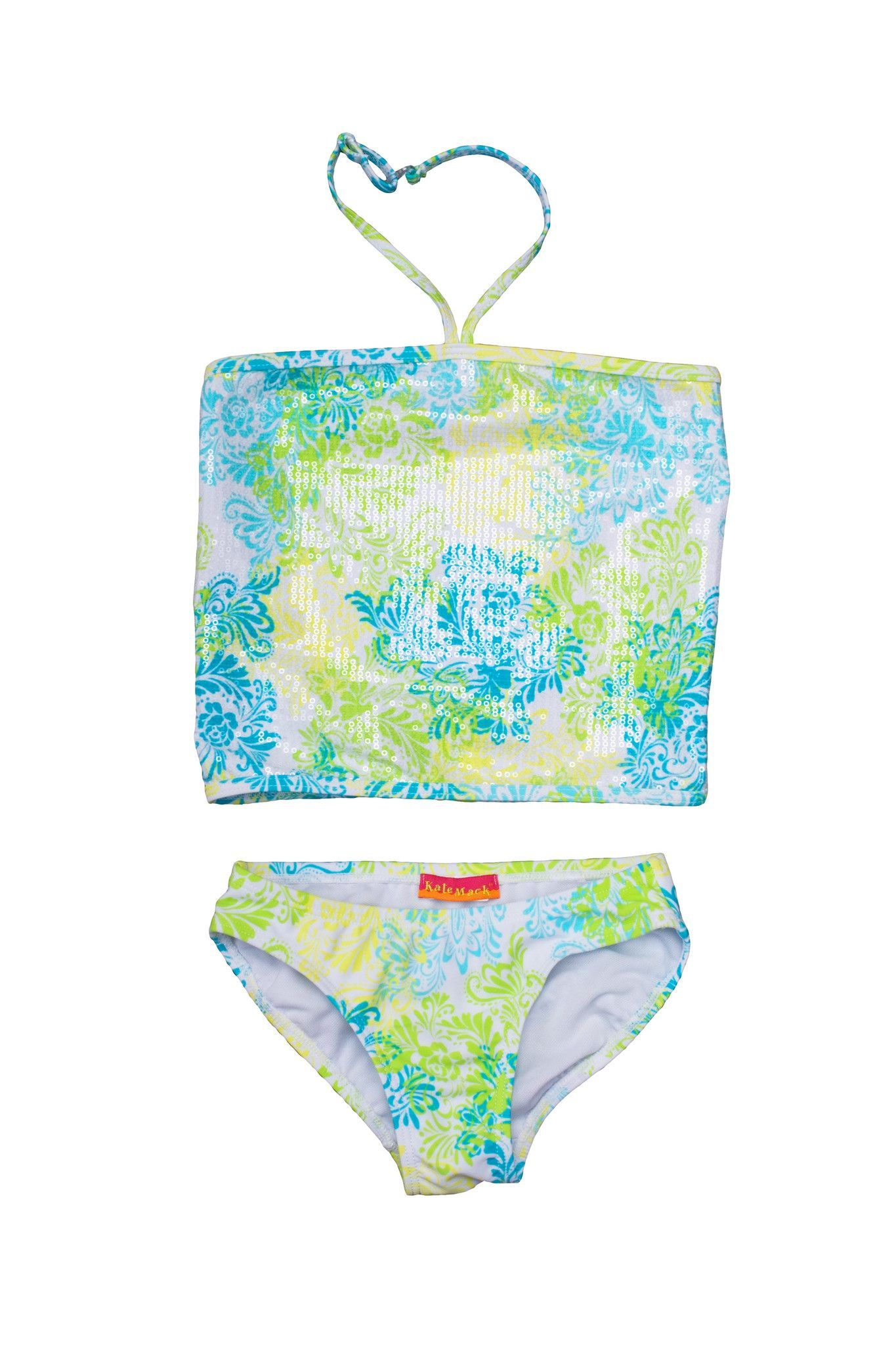 ec838c07f2 Kate Mack Girl s 2-6X Tropical Tattoo 2 Piece Tankini Set with Sequins in  Aqua