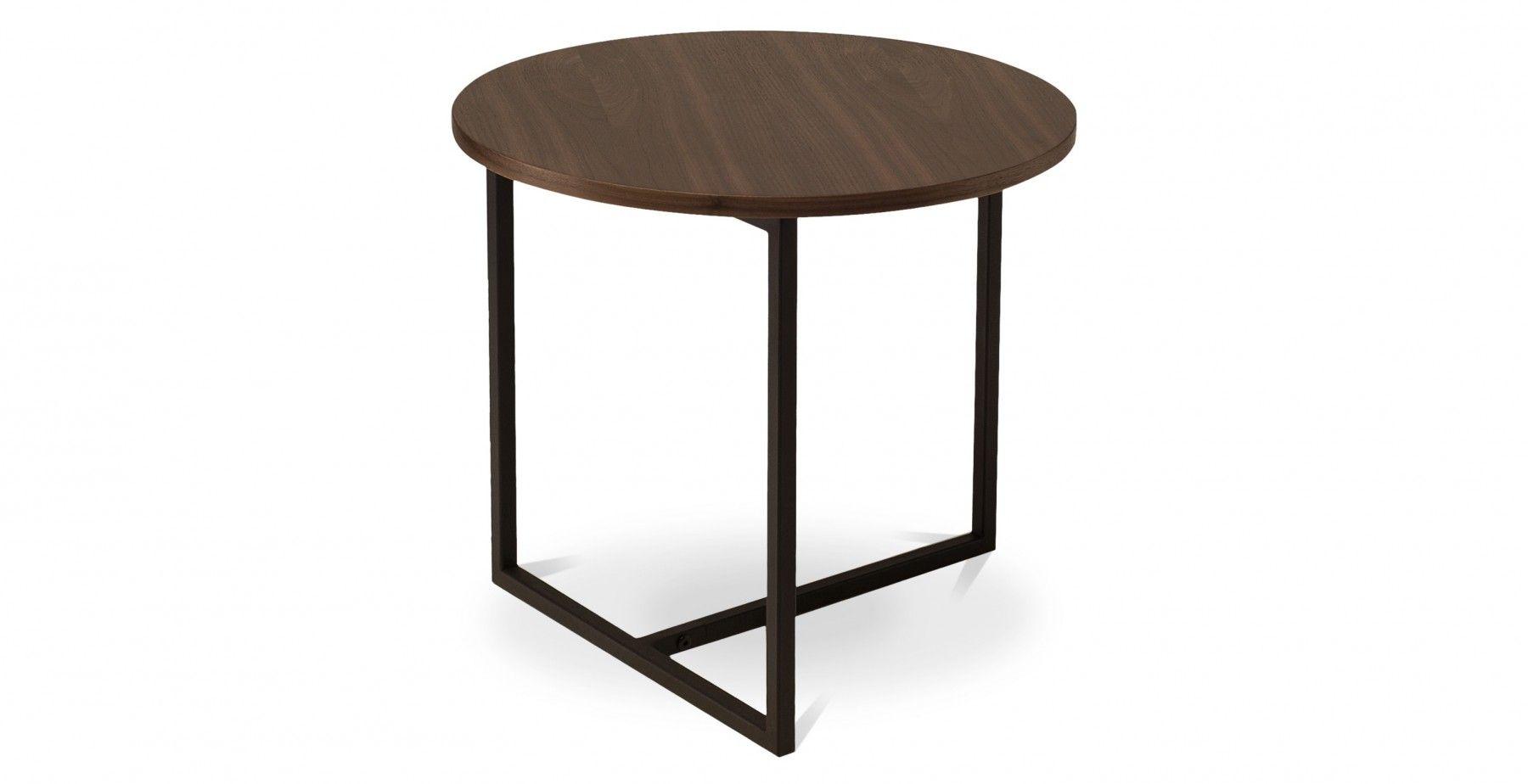 Turner Round Side Table Walnut Fern Grey