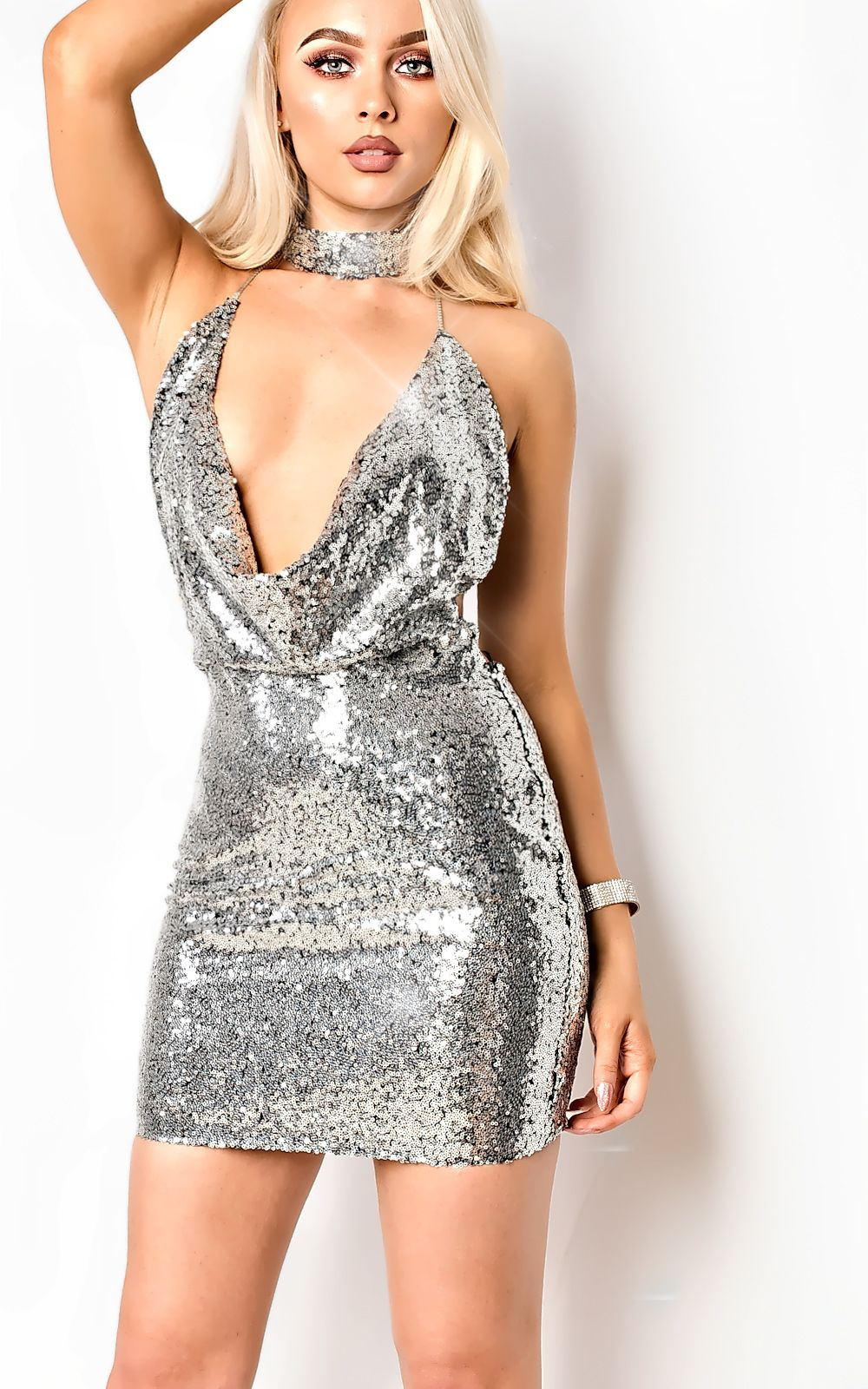 8b79c4f8 Grey Sequin Bodycon Dress | Saddha