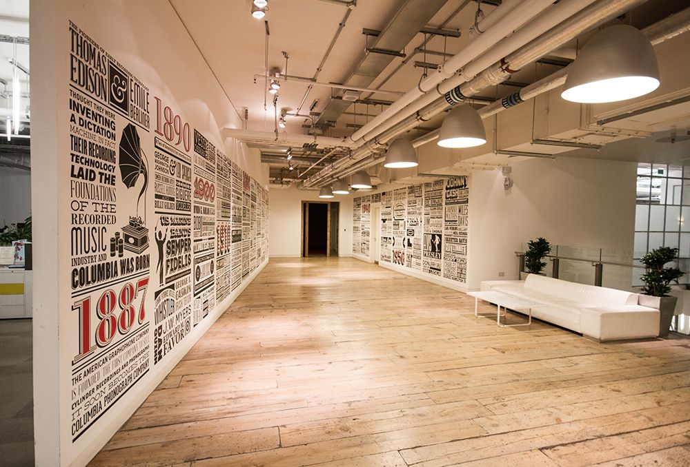 Sony music timeline by alex fowkes graphics and signage for Office design history