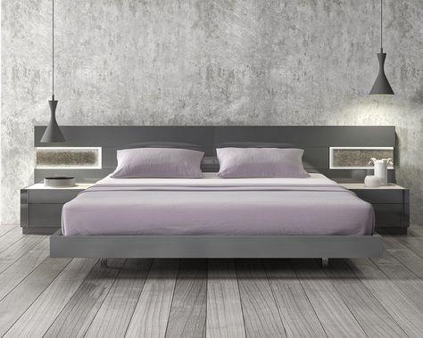 lacquered stylish wood elite platform bed with long panels las vegas rh pinterest com
