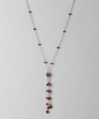 1928 Jewelry Company - Copper and Smoke Topaz Latern Tassel Necklace
