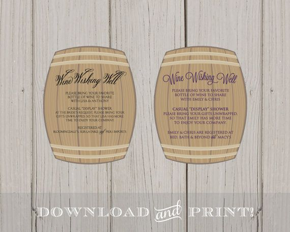 DIY Wine Wishing Well Bridal Shower Printable Insert Card ...