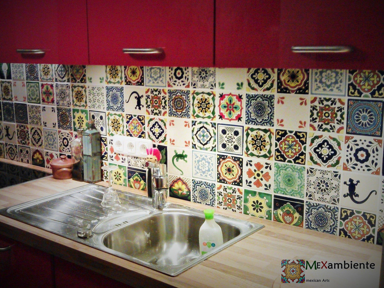 originelle & bunte fliesen für die küchenrückwand - mexikanische