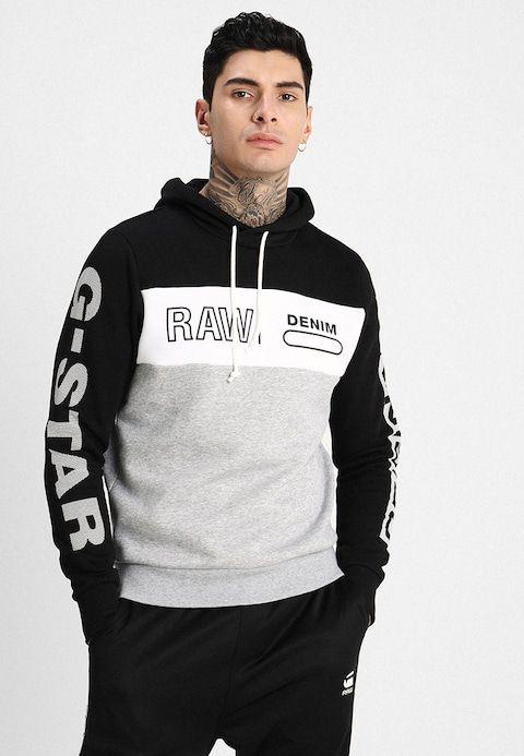 G Star Swando Block Graphic Hdd Sw L S Hoodie Dark Black White Grey Heather Zalando Co Uk Mens Fashion Sweaters Hoodies Hoodies Men